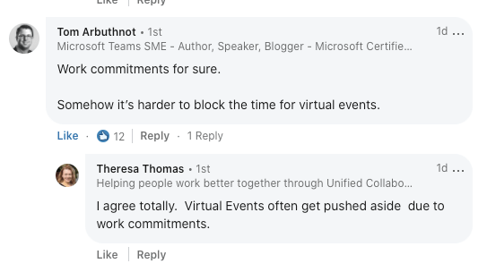 balancing work commitments with virtual events