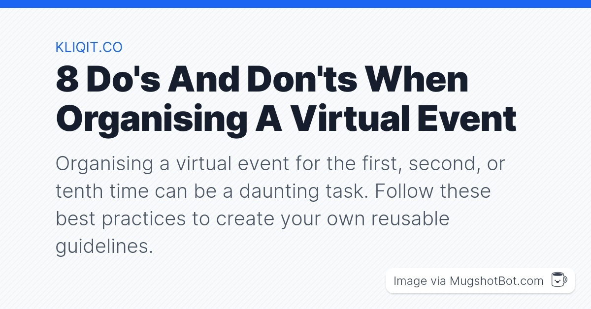 Organising a virtual event